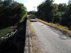 Hole in Roadbed of Esch's Spur Bridge